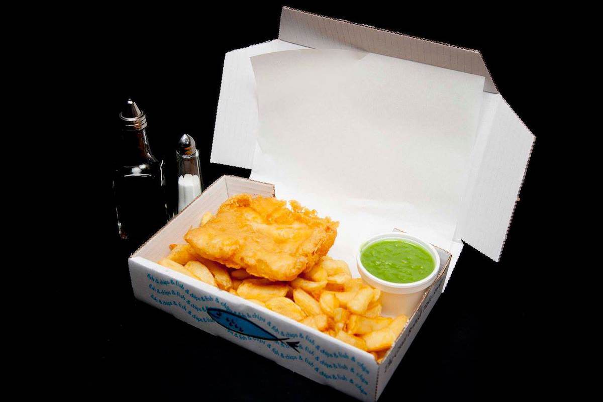 ripleys-fish-chips-takeaway-box-fish-chips-peas-meal-derbyshire